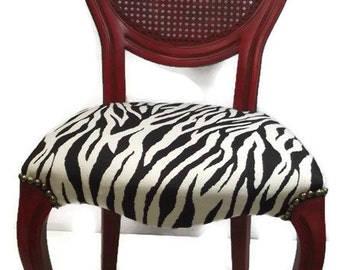 Vintage Cane Balloon Back Louis XI Chair Custom Hand Finished Zebra Upolstery