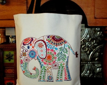 Rain Forest Elephant Large Grocery Bag Tote Canvas