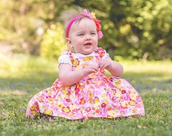 Baby Girl Dress - Baby Girl Sundress - Girls Jumper - Dress and Bloomers - Flower Dress - Birthday Dress - Pink Dress - Orange Bloomers