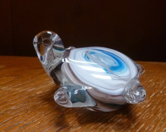 Glass Turtle paperweight figurine blue and white swirl inside