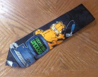 Garfield the Cat silk necktie I Don't do Windows Paws Addiction