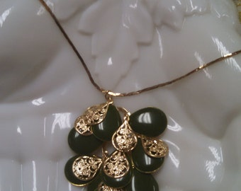 Ornate Dangling Green Enamel Necklace in Gold Tone