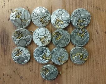 Set of 13 vintage mechanical watch movements, watch parts mixed media jewelery lot, big movements