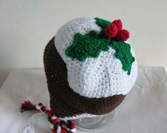 Christmas Pudding crochet hat - ready to dispatch