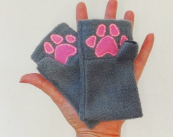 Kids Paw Print Fingerless Gloves