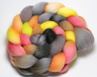 Handpainted Roving - Mad Hatter - Falkland Wool - 4 ounces