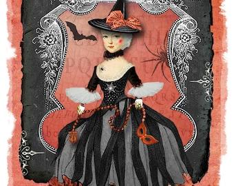 Witch Card | Happy Halloween | Halloween | Halloween Card | Marie Antoinette | Vintage Style | Blank Card | Halloween Greetings