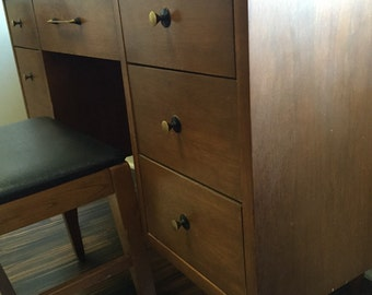 McCobb style walnut double pedestile desk brass pulls mid century modern includes chair