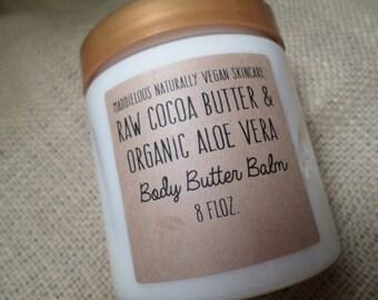 VEGAN-Raw Cocoa Butter & Organic Aloe Vera-Body Butter Balm- Cocoa Vanilla Mint Scent-Heals-Scarring-Anti Wrinkle-Adds Moisture-8 oz.