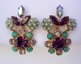 Vintage Climber Earrings Austria Amethyst Rhinestones Robins Egg Blue Faux Turquoise Opaque Milk Glass Cabochons Flowers Clip On Gold Tone