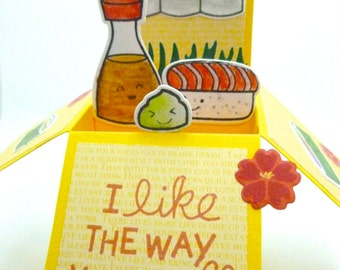 Foodie Love Card, Sushi and soy sauce box pop up, I like the way you roll, maki sushi, Wasabi