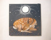 Hand painted Deer fawn art canvas panel.
