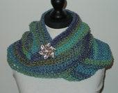 Classic Infinity Scarf Crochet Cowl Shades of Green, Blue&Purple MC31