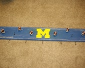 Michigan Football Hat Rack, Football Knob, Hooks, Distressed
