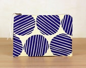 Colbalt blue stripe spot flat zip pouch off white- screen printed and handmade