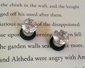Solitaire rhinestone plugs - 10g - 5/8inch - Ready to ship!