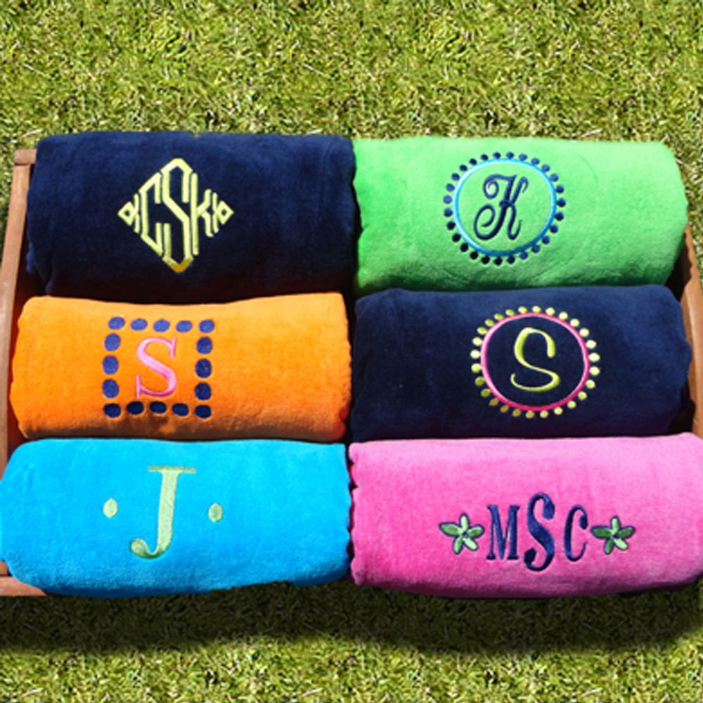 Monogrammed Beach Towel And Bag Set: SET OF 3 Beach Towels 30 X 60 / Personalized By MonogramWorks