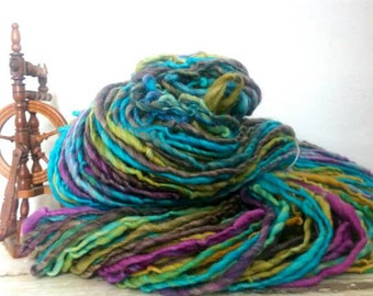 CRYSTALLINE - super bulky handspun single - aqua,  topaz, fuchsia, mauve - handdyed yarn. For knit, crochet, weave, dolls hair, Waldorf