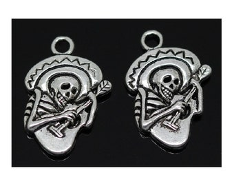 6 Day of the Dead Charms Skeletons with Guitars Mariachi Band Atq Silver Tone Halloween Jewelry Craft Supplies 22x19 mm