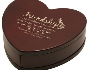 Engraved Rosewood Friendship Keepsake Box