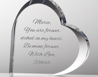 Engraved Crystal Heart