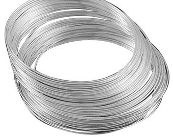 11.5cm Platinum look memory wire 25 loops for necklace 1.8mm-7288i