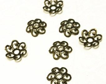20pc 11mm antique bronze finish metal bead cap-8582