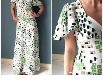 70s Flutter Sleeve Maxi Dress XS