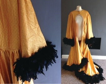 Gold 60s Feather Trim Duster Coat / Burlesque Robe XL