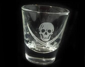 Jolly Roger Skull Crossbones Etched Shot Glass Skeleton