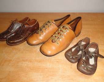 Vintage Lot of 3 Depression Era Circa 1930's Women's Boy's and Girl's Shoes