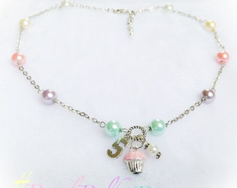 Cupcake Pendant Birthday Necklace Pastel Pearl Rainbow Custom Age Jewelry