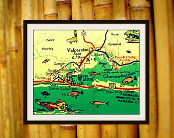 map photograph DESTIN Florida gifts for her retro color Ft Walton Beach 8x10 aqua red vacation coastal nostalgia Americana wall art decor
