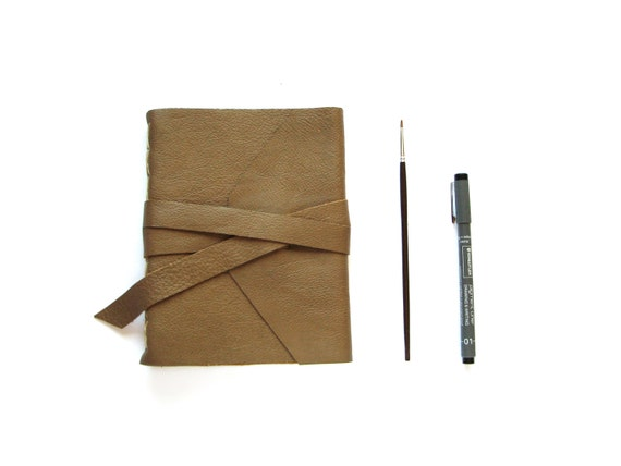 Cappuccino Leather Sketchbook or Leather Journal with Tie Closure