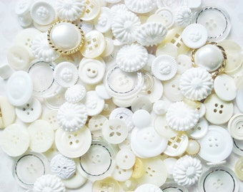Snow White Button Grab Bag - 60 White Plastic Buttons - Fancy Cream and White Buttons Mix = Assorted White and Cream Buttons