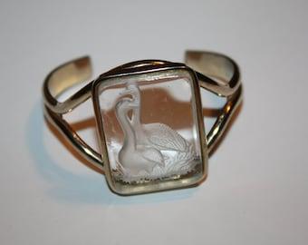 Vintage Intaglio Swan Cuff Bracelet Reversed Carved Glass 1960s Jewelry