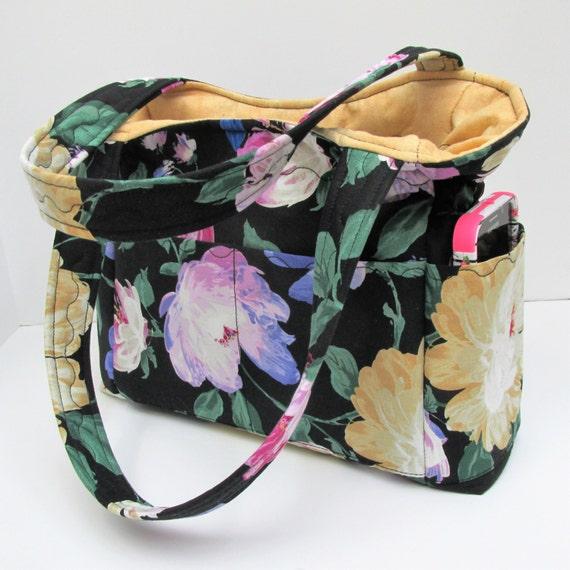 black gold floral shoulder bag travel handbag diaper bag. Black Bedroom Furniture Sets. Home Design Ideas