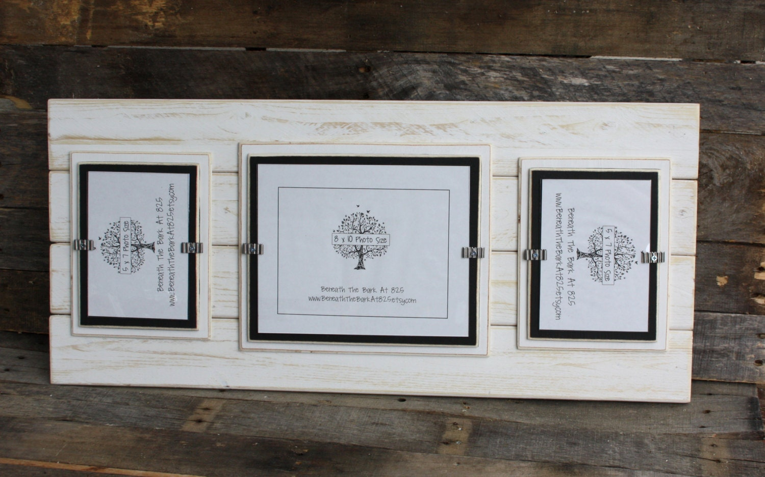 Picture Frame Distressed Wood Double Mats Holds 1