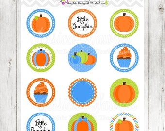 80% OFF - INSTANT DOWNLOAD, Printable Pumpkin Circles for Boys, pumpkin patch party, cupcake toppers, printable circles, fall party