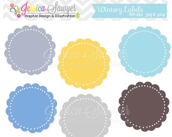 80% OFF - INSTANT DOWNLOAD, wintery circle labels, printable labels, printable tags, for card making, invitations, digital scrapbooking