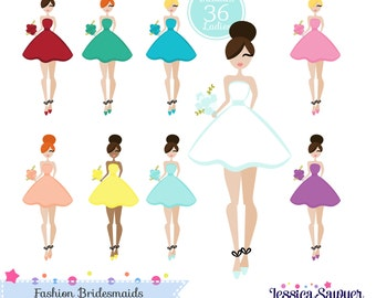 INSTANT DOWNLOAD, bridesmaid clipart and vectors for personal and commercial use