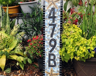 Address sign for Apartment -- Letters and Numbers -- Mosaic Address Plaque -- House Numbers