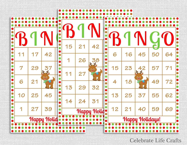 150 Rudolph Christmas Bingo Cards DIY Printable Game for