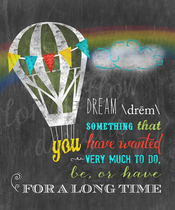Dream Definition - Hot Air Balloon - Different Sizes - Chalkboard Look Print
