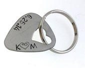 Personalized Guitar Pick Keychain - Hand Stamped Stainless Steel Guitar Pick Keychain - Heart Cutout Great Gift!