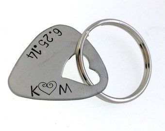 Personalized Guitar Pick Keychain - Hand Stamped Stainless Steel Guitar Pick Keychain - Heart Cutout