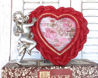 Red Heart Frame w/Silver Cherub - 4 x 4 Valentine's Day Table Top Easel Back Picture Frame