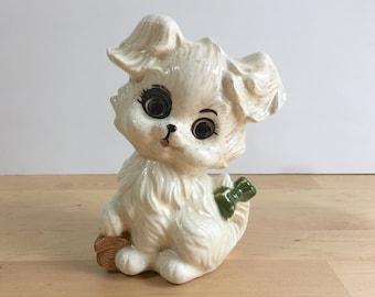 Vintage Off-White Puppy Dog Ceramic Figurine