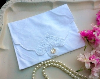 White Fabric gift envelope, sachet holder, jewelry storage, spring clutch made from vintage linens for wedding gifts or as a travel bag
