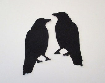 2 Raven Iron On Patch Applique 6""